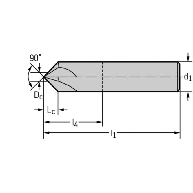 Freze pentru teşire din carbură metalică 90° AH3058318-3/8