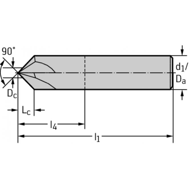 Freze pentru teşire 90° din carbură metalică MC501-10.0A4L-WJ30TF