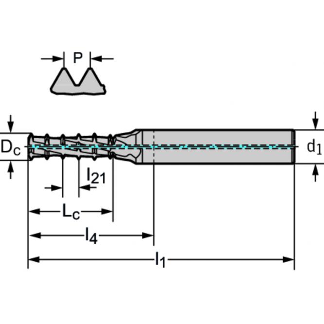Freză de filetare cu mai multe rânduri TC620-M10-A1D-WB10TJ