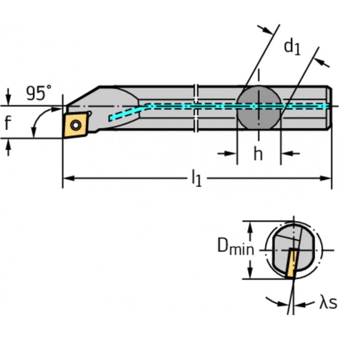 Bară pentru strunjire interioară – fixare cu şuruburi A... A25T-SCLCR12