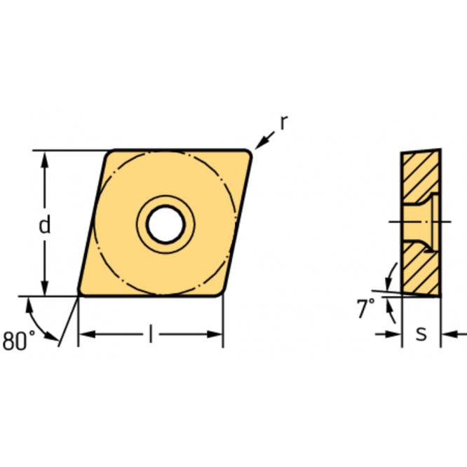 Rombice pozitive de 80° CCMT120408-MV4 WPV20