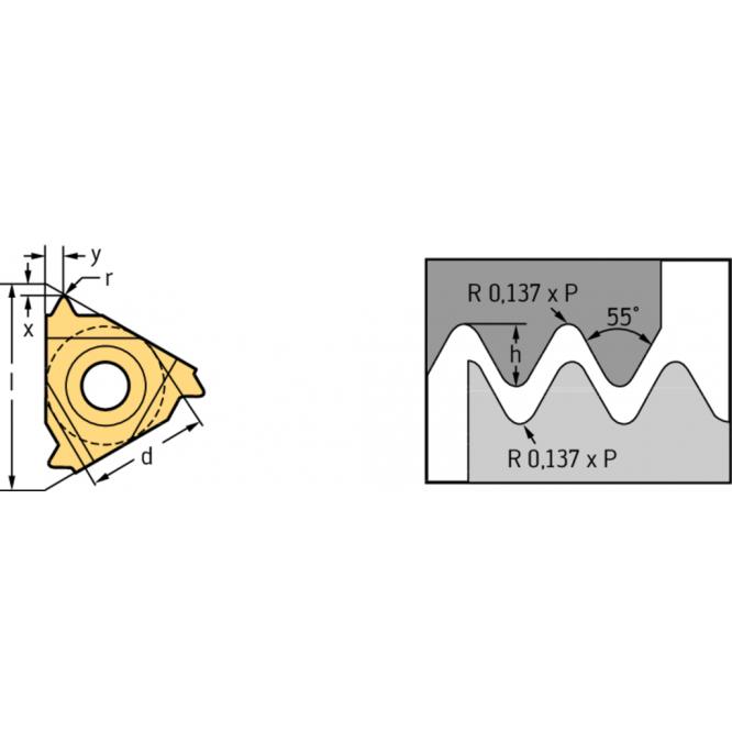 Plăcuţe de strunjire filete exterioare – profil integral, Whitworth NTS NTS-EL-16 010W WXM20