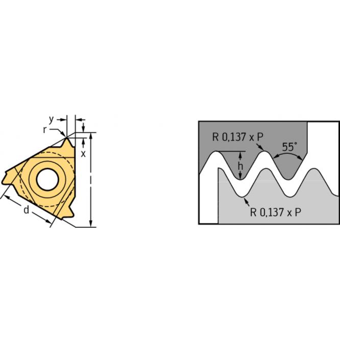 Plăcuţe de strunjire filete interioare – profil integral, Whitworth NTS NTS-IL-11 12W WMP32