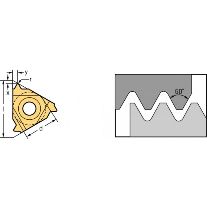 Plăcuţe de strunjire filete exterioare – profil parţial 60° NTS NTS-ER-16 AG60 WXP20