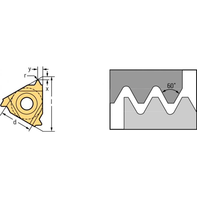 Plăcuţe de strunjire filete interioare – profil parţial 60° NTS NTS-IR-16 AG60 WXP20