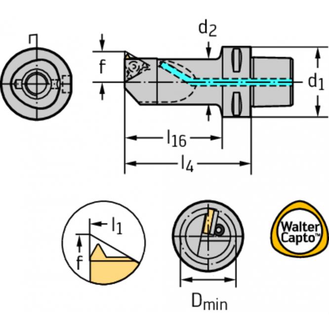 Bară pentru strunjire interioară – filet interior C...-NTS-OI C3-NTS-OIL22085-16